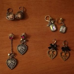 4 pairs of Betsey Johnson earrings